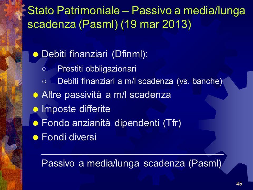 45 Stato Patrimoniale – Passivo a media/lunga scadenza (Pasml) (19 mar 2013) Debiti finanziari (Dfinml): Prestiti obbligazionari Debiti finanziari a m/l scadenza (vs.
