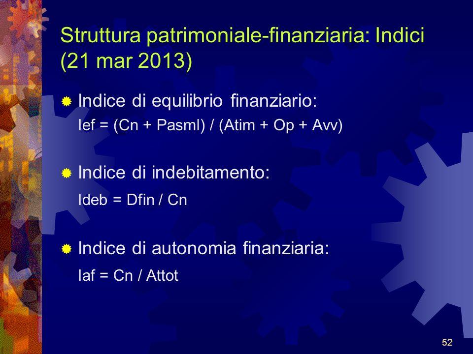 52 Struttura patrimoniale-finanziaria: Indici (21 mar 2013) Indice di equilibrio finanziario: Ief = (Cn + Pasml) / (Atim + Op + Avv) Indice di indebitamento: Ideb = Dfin / Cn Indice di autonomia finanziaria: Iaf = Cn / Attot