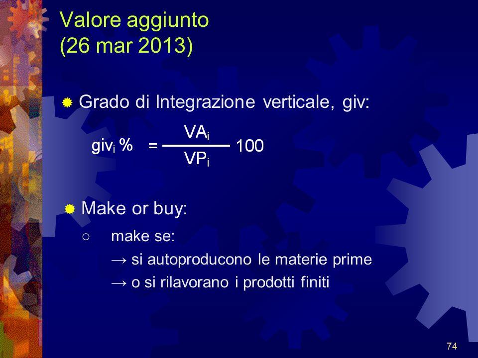 74 Valore aggiunto (26 mar 2013) Grado di Integrazione verticale, giv: Make or buy: make se: si autoproducono le materie prime o si rilavorano i prodotti finiti
