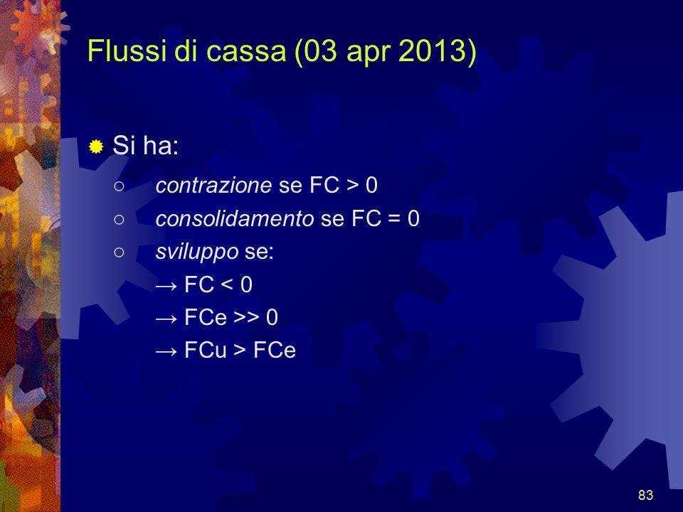 83 Flussi di cassa (03 apr 2013) Si ha: contrazione se FC > 0 consolidamento se FC = 0 sviluppo se: FC < 0 FCe >> 0 FCu > FCe