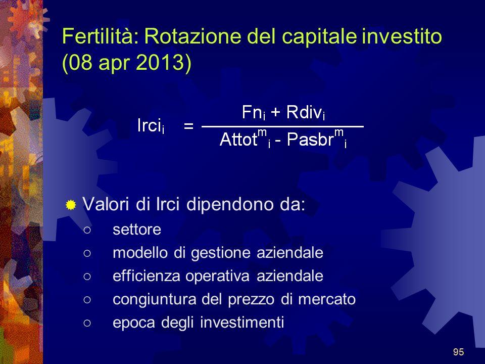 95 Fertilità: Rotazione del capitale investito (08 apr 2013) Valori di Irci dipendono da: settore modello di gestione aziendale efficienza operativa aziendale congiuntura del prezzo di mercato epoca degli investimenti