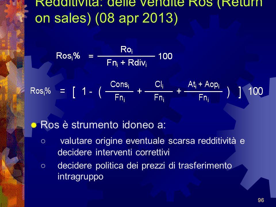 96 Redditività: delle vendite Ros (Return on sales) (08 apr 2013) Ros è strumento idoneo a: valutare origine eventuale scarsa redditività e decidere interventi correttivi decidere politica dei prezzi di trasferimento intragruppo