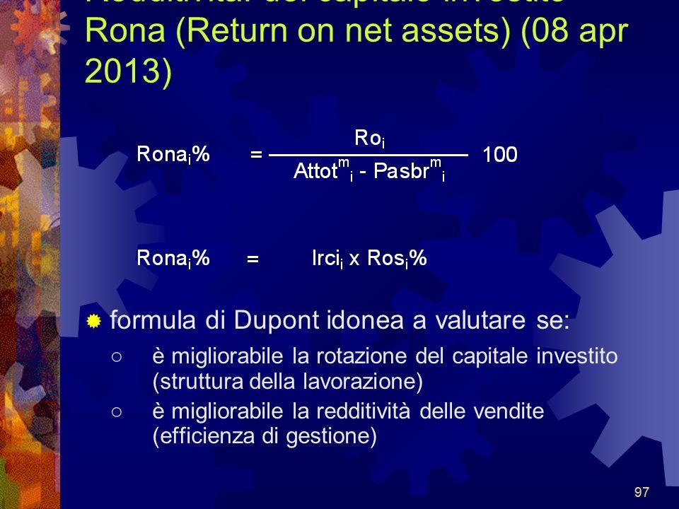 97 Redditività: del capitale investito Rona (Return on net assets) (08 apr 2013) formula di Dupont idonea a valutare se: è migliorabile la rotazione del capitale investito (struttura della lavorazione) è migliorabile la redditività delle vendite (efficienza di gestione)