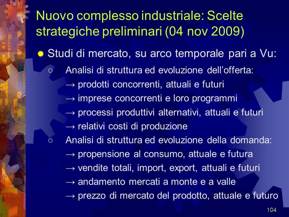 104 Nuovo complesso industriale: Scelte strategiche preliminari (04 nov 2009) Studi di mercato, su arco temporale pari a Vu: Analisi di struttura ed e