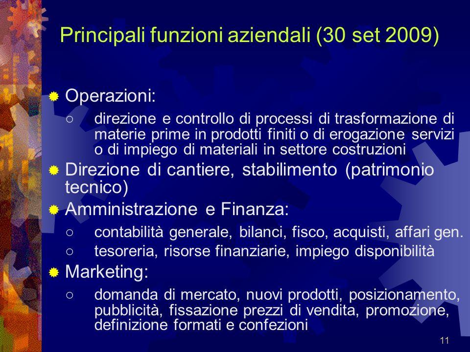 11 Principali funzioni aziendali (30 set 2009) Operazioni: direzione e controllo di processi di trasformazione di materie prime in prodotti finiti o d