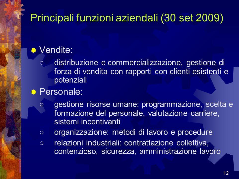 12 Principali funzioni aziendali (30 set 2009) Vendite: distribuzione e commercializzazione, gestione di forza di vendita con rapporti con clienti esi