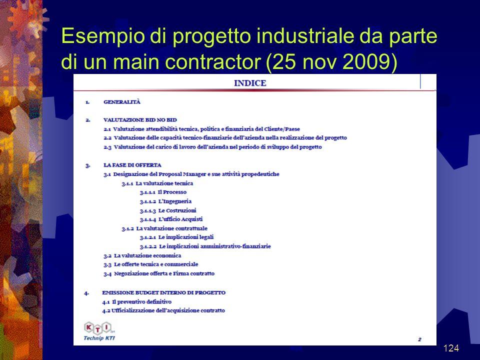 124 Esempio di progetto industriale da parte di un main contractor (25 nov 2009)