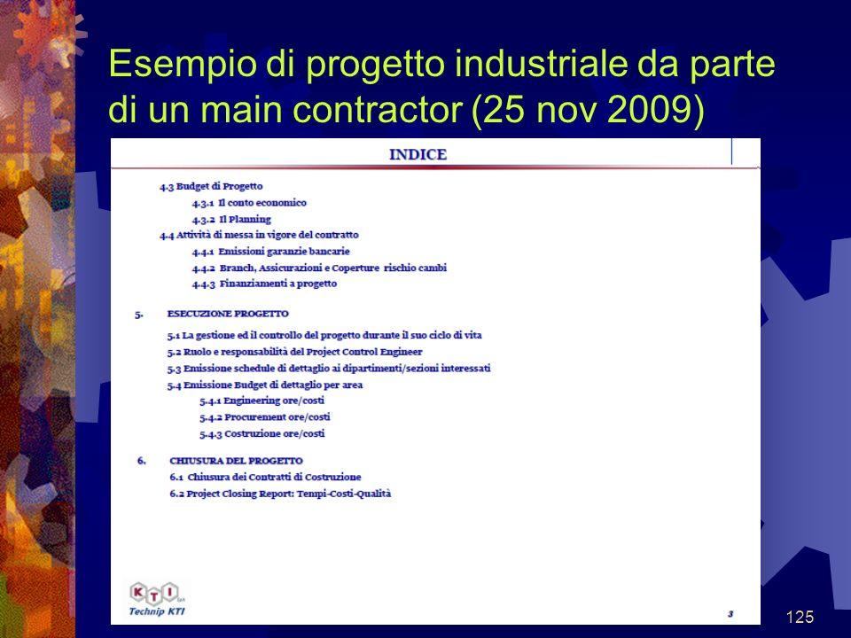 125 Esempio di progetto industriale da parte di un main contractor (25 nov 2009)