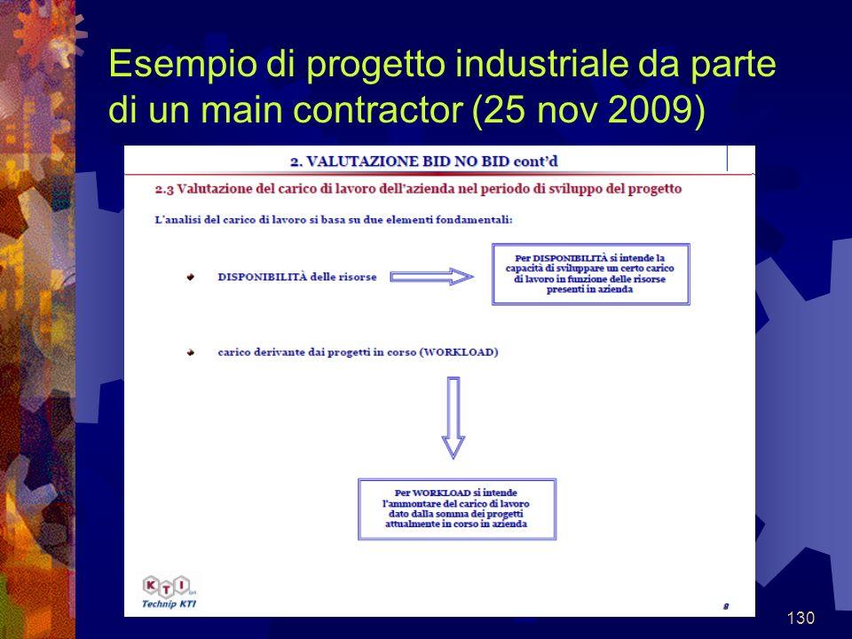 130 Esempio di progetto industriale da parte di un main contractor (25 nov 2009)