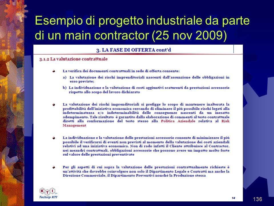 136 Esempio di progetto industriale da parte di un main contractor (25 nov 2009)