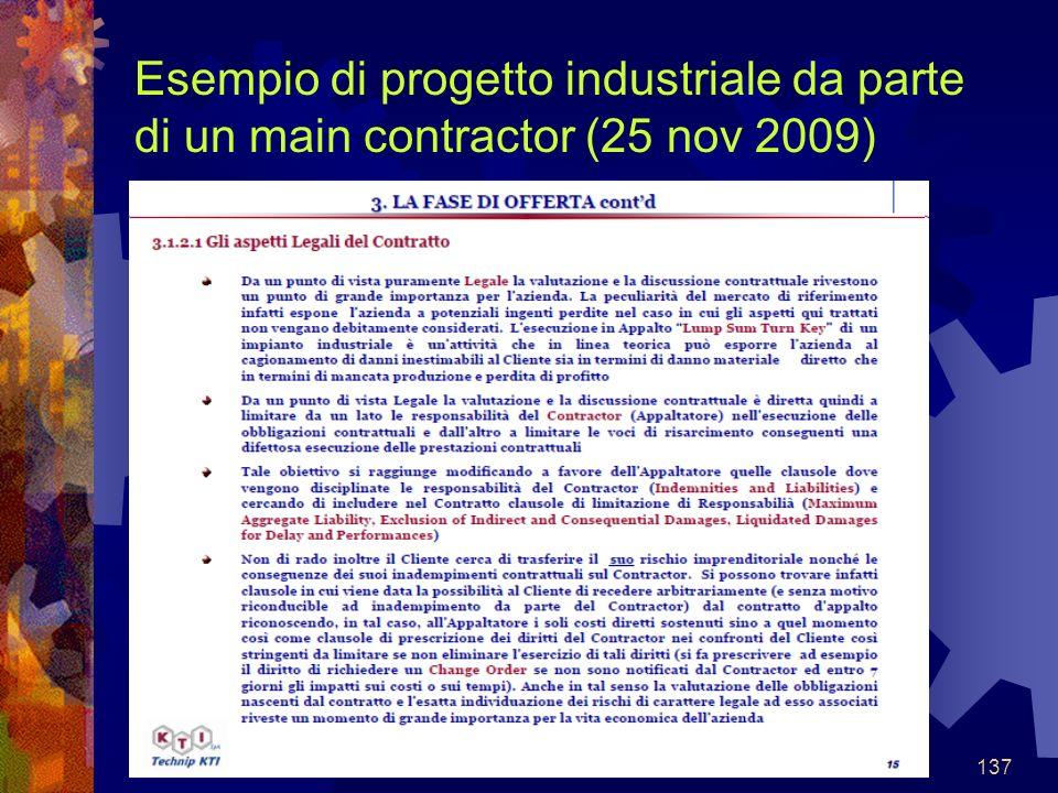 137 Esempio di progetto industriale da parte di un main contractor (25 nov 2009)
