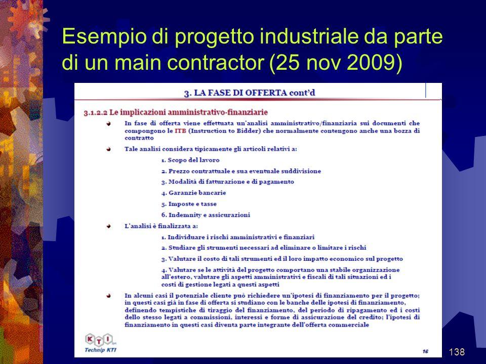 138 Esempio di progetto industriale da parte di un main contractor (25 nov 2009)