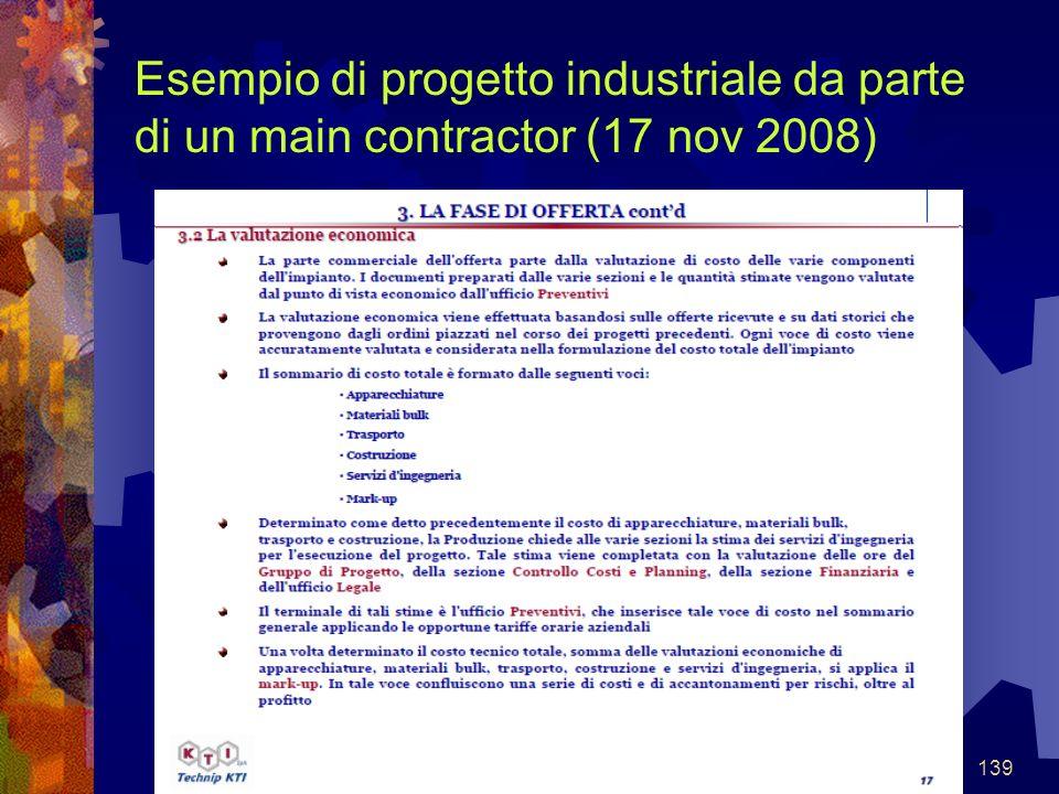 139 Esempio di progetto industriale da parte di un main contractor (17 nov 2008)