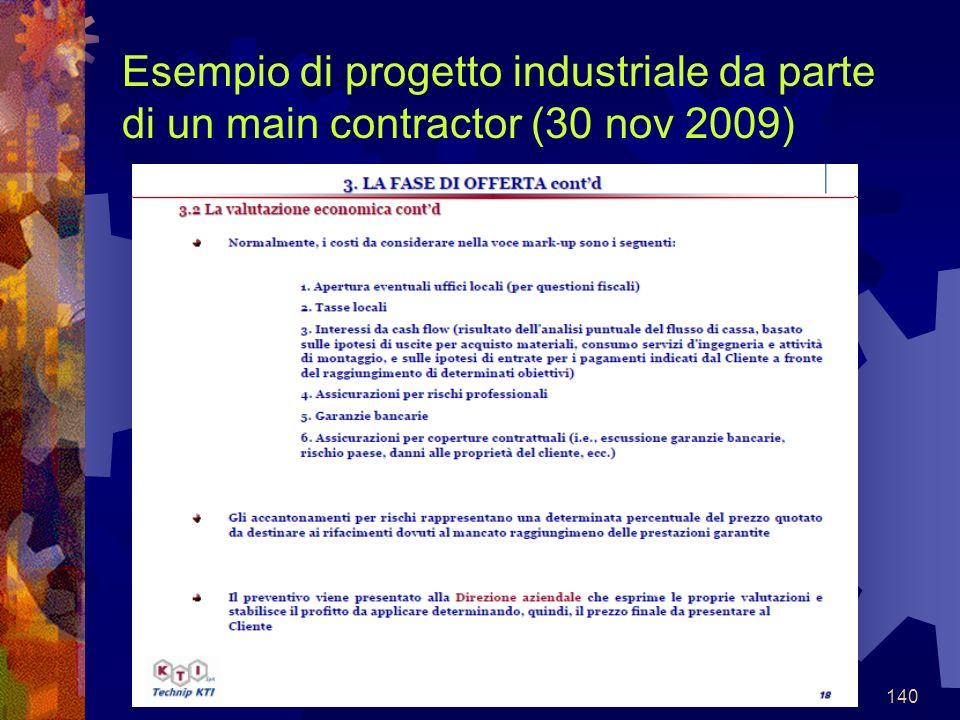 140 Esempio di progetto industriale da parte di un main contractor (30 nov 2009)