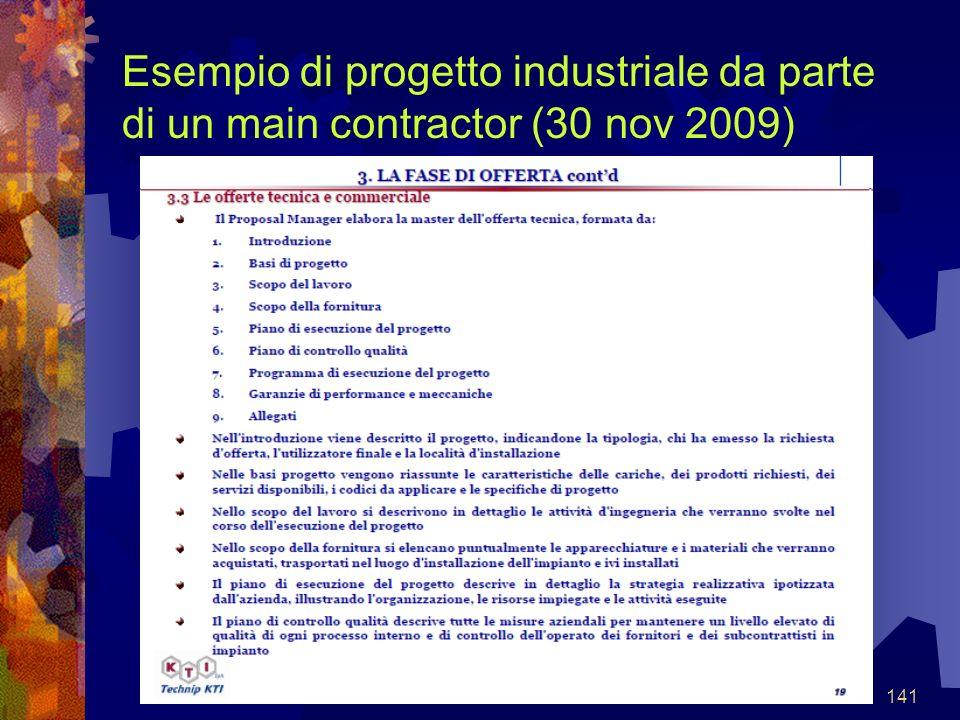 141 Esempio di progetto industriale da parte di un main contractor (30 nov 2009)
