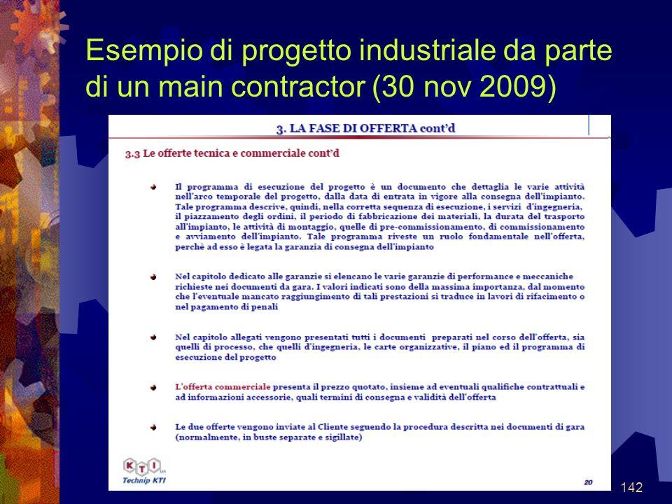 142 Esempio di progetto industriale da parte di un main contractor (30 nov 2009)
