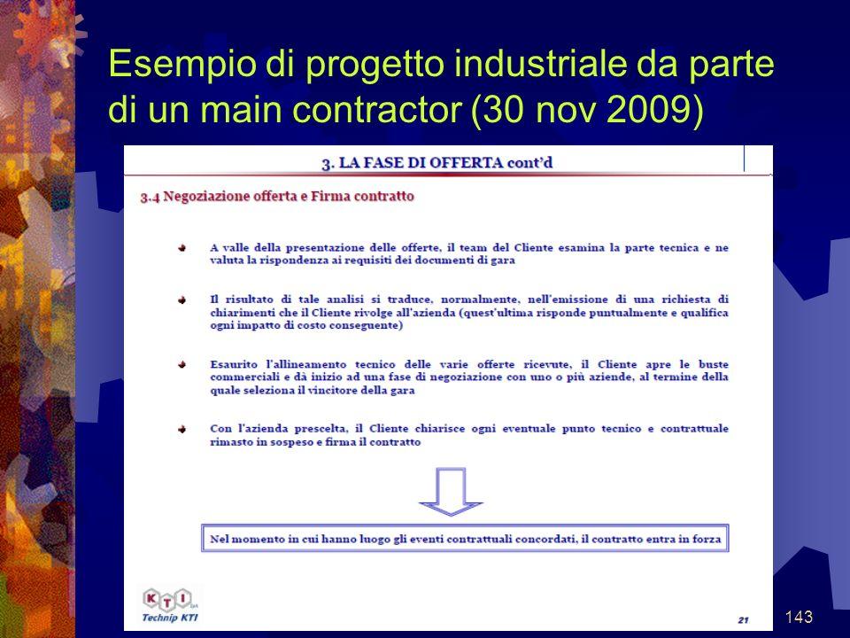 143 Esempio di progetto industriale da parte di un main contractor (30 nov 2009)