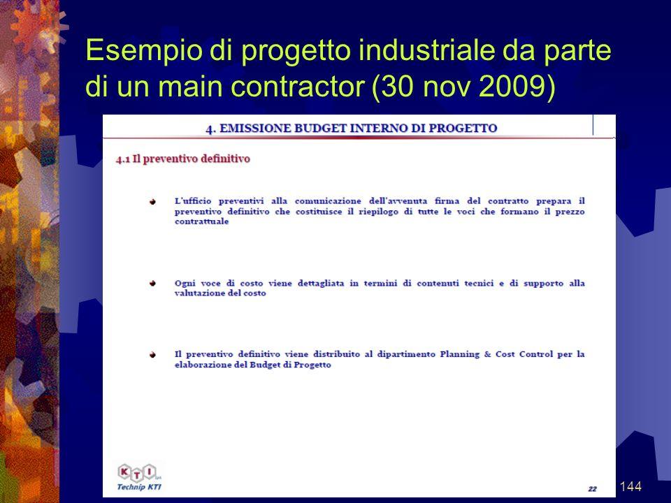 144 Esempio di progetto industriale da parte di un main contractor (30 nov 2009)