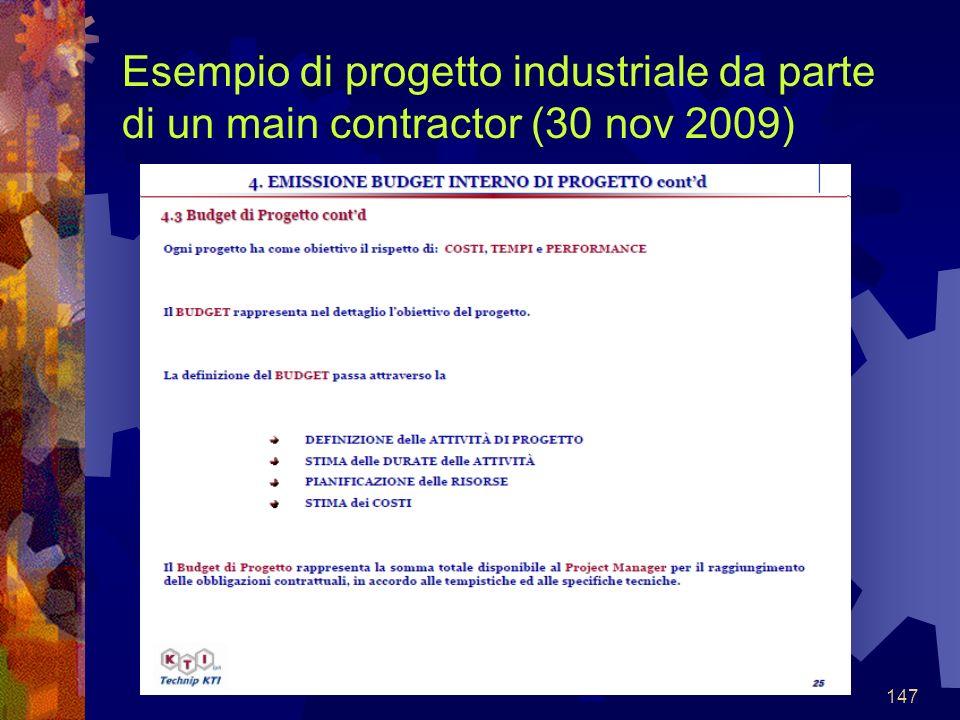 147 Esempio di progetto industriale da parte di un main contractor (30 nov 2009)
