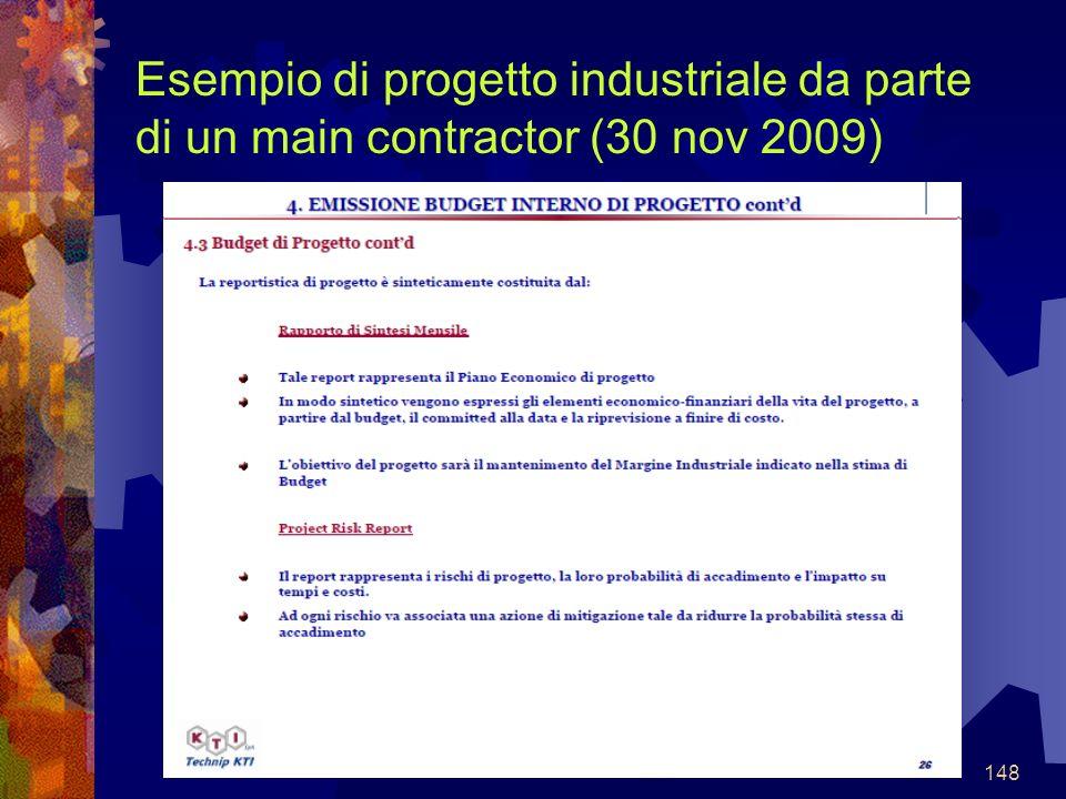 148 Esempio di progetto industriale da parte di un main contractor (30 nov 2009)