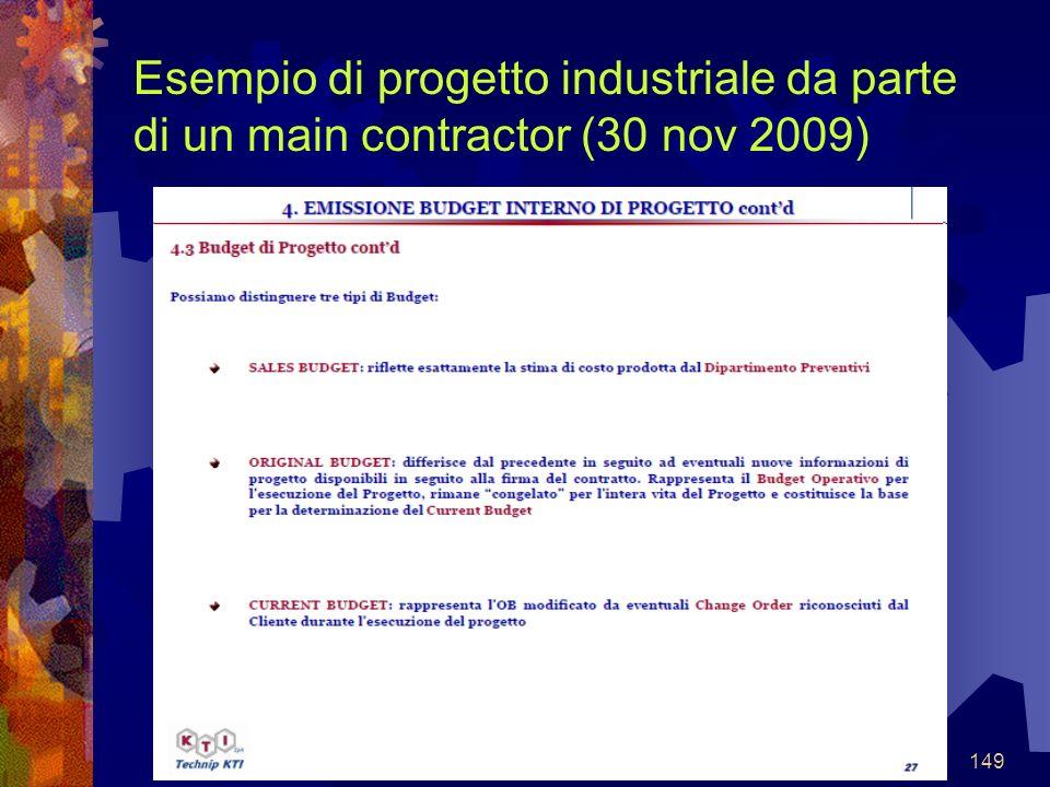 149 Esempio di progetto industriale da parte di un main contractor (30 nov 2009)