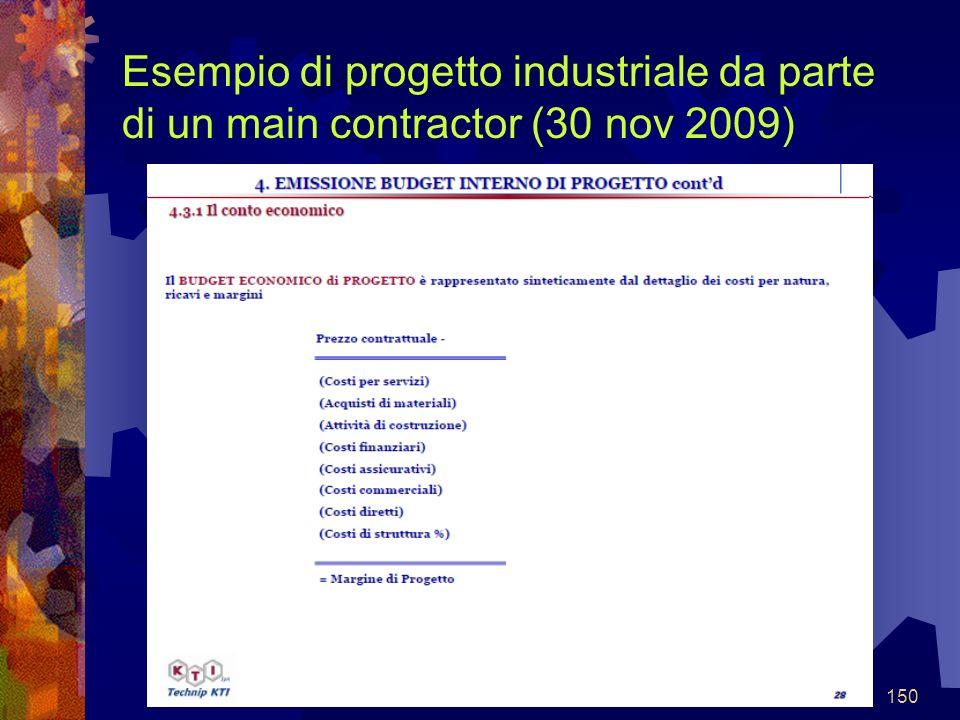 150 Esempio di progetto industriale da parte di un main contractor (30 nov 2009)