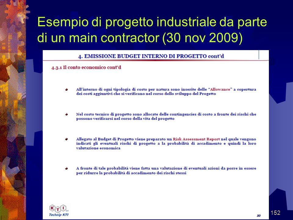 152 Esempio di progetto industriale da parte di un main contractor (30 nov 2009)