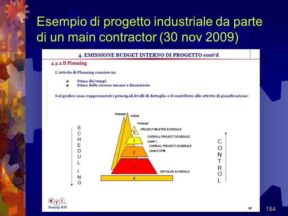 154 Esempio di progetto industriale da parte di un main contractor (30 nov 2009)