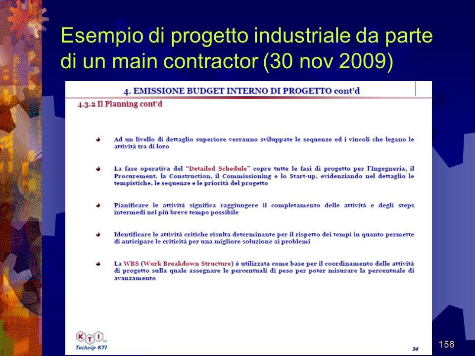 156 Esempio di progetto industriale da parte di un main contractor (30 nov 2009)