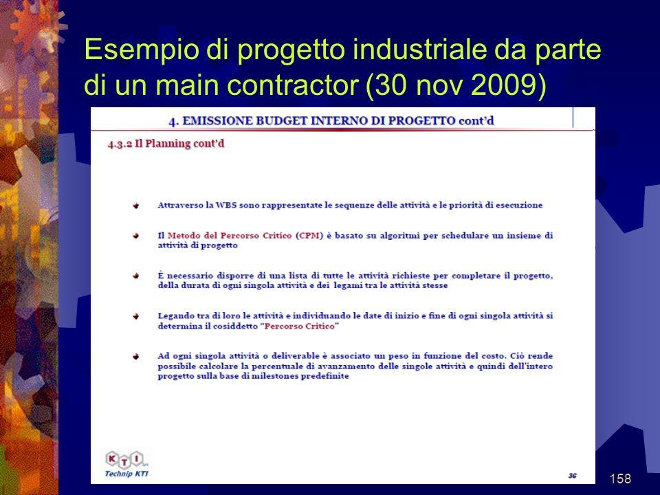 158 Esempio di progetto industriale da parte di un main contractor (30 nov 2009)