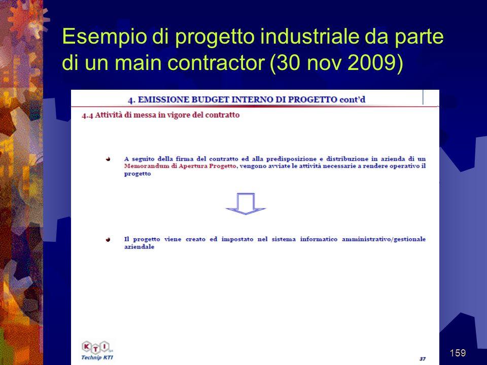 159 Esempio di progetto industriale da parte di un main contractor (30 nov 2009)