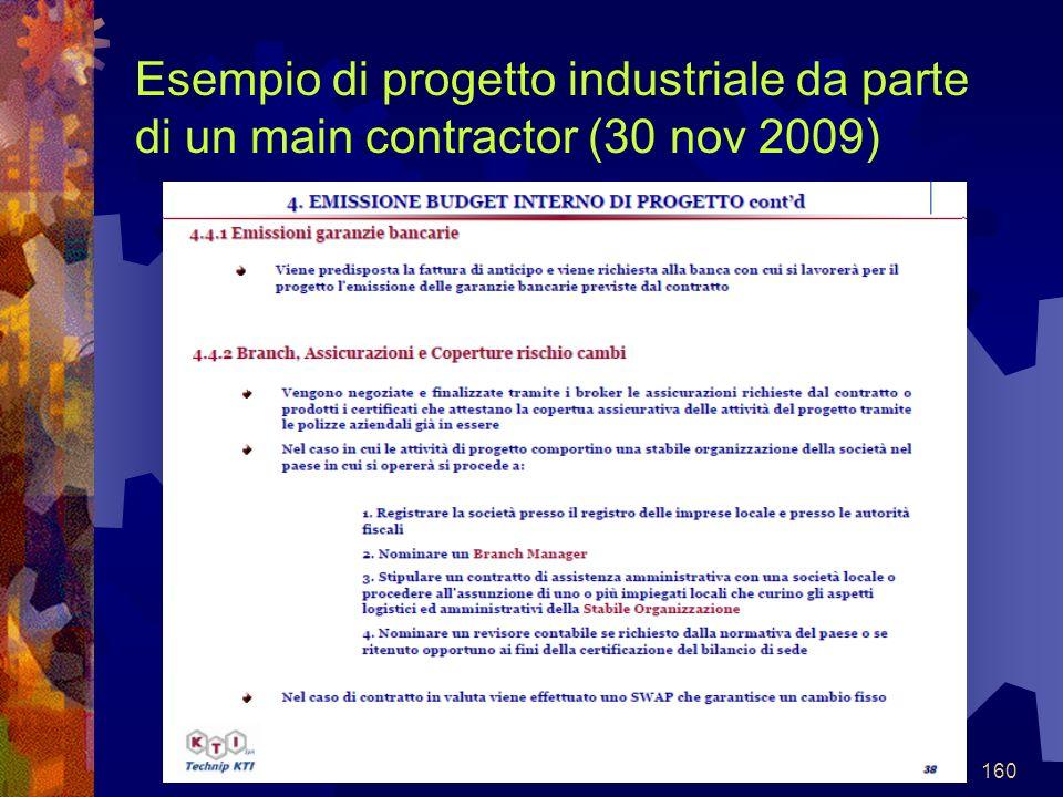 160 Esempio di progetto industriale da parte di un main contractor (30 nov 2009)
