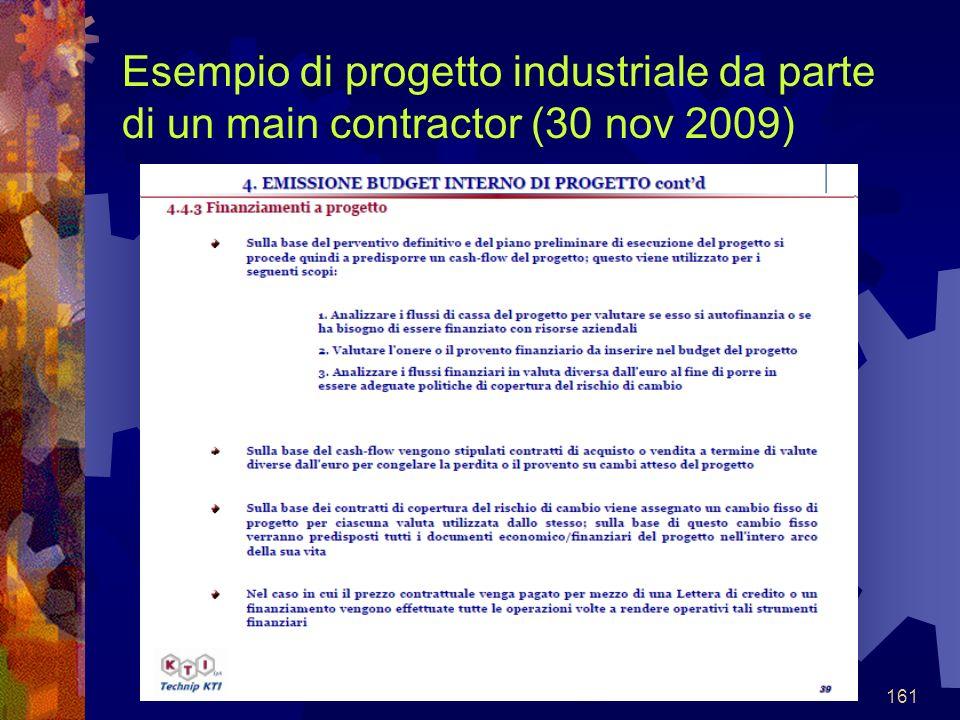 161 Esempio di progetto industriale da parte di un main contractor (30 nov 2009)