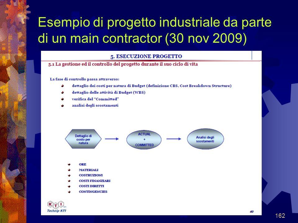 162 Esempio di progetto industriale da parte di un main contractor (30 nov 2009)