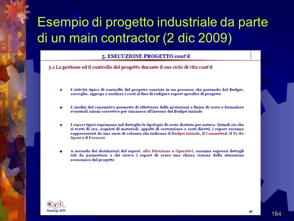 164 Esempio di progetto industriale da parte di un main contractor (2 dic 2009)