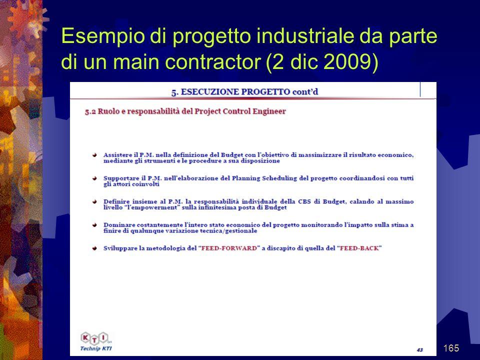 165 Esempio di progetto industriale da parte di un main contractor (2 dic 2009)