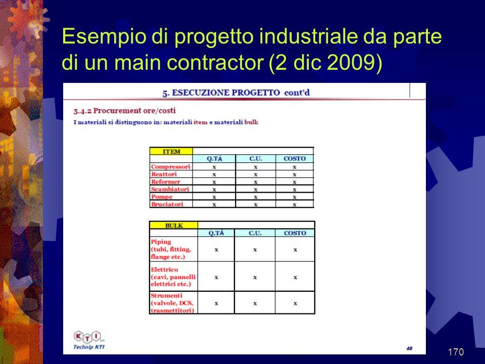 170 Esempio di progetto industriale da parte di un main contractor (2 dic 2009)