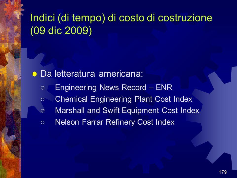 179 Indici (di tempo) di costo di costruzione (09 dic 2009) Da letteratura americana: Engineering News Record – ENR Chemical Engineering Plant Cost In