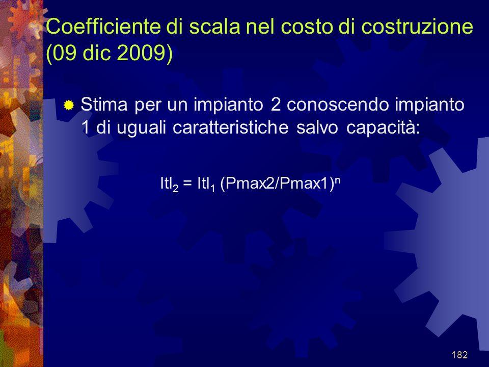 182 Coefficiente di scala nel costo di costruzione (09 dic 2009) Stima per un impianto 2 conoscendo impianto 1 di uguali caratteristiche salvo capacit
