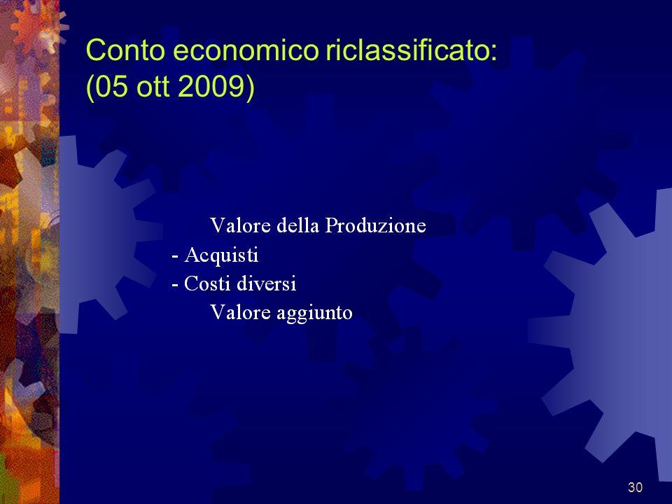 30 Conto economico riclassificato: (05 ott 2009)