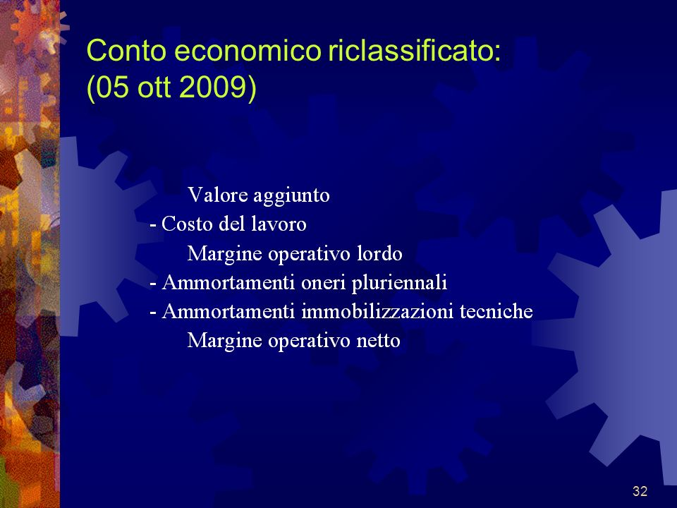 32 Conto economico riclassificato: (05 ott 2009)