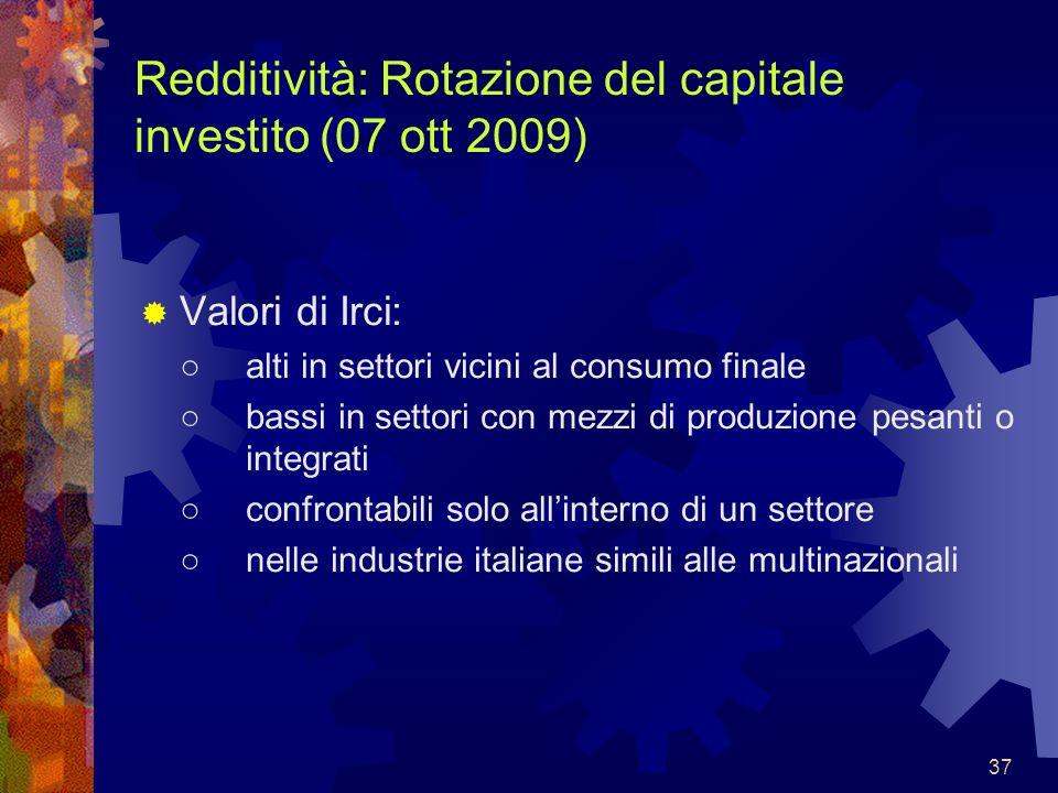 37 Redditività: Rotazione del capitale investito (07 ott 2009) Valori di Irci: alti in settori vicini al consumo finale bassi in settori con mezzi di