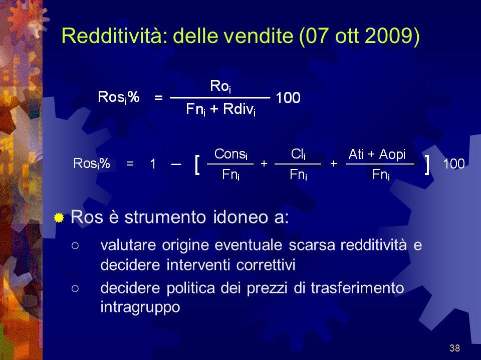 38 Redditività: delle vendite (07 ott 2009) Ros è strumento idoneo a: valutare origine eventuale scarsa redditività e decidere interventi correttivi d