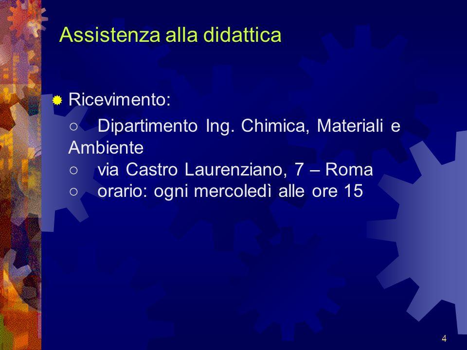 4 Assistenza alla didattica Ricevimento: Dipartimento Ing. Chimica, Materiali e Ambiente via Castro Laurenziano, 7 – Roma orario: ogni mercoledì alle