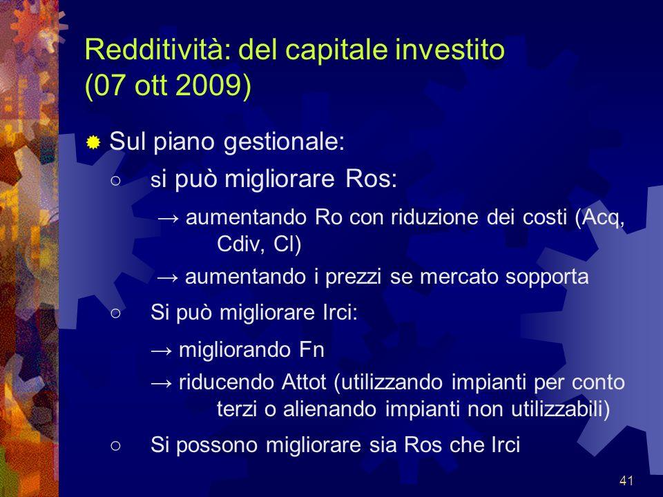 41 Redditività: del capitale investito (07 ott 2009) Sul piano gestionale: s i può migliorare Ros: aumentando Ro con riduzione dei costi (Acq, Cdiv, C