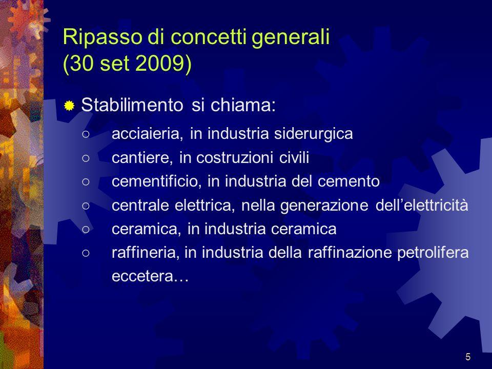 5 Ripasso di concetti generali (30 set 2009) Stabilimento si chiama: acciaieria, in industria siderurgica cantiere, in costruzioni civili cementificio