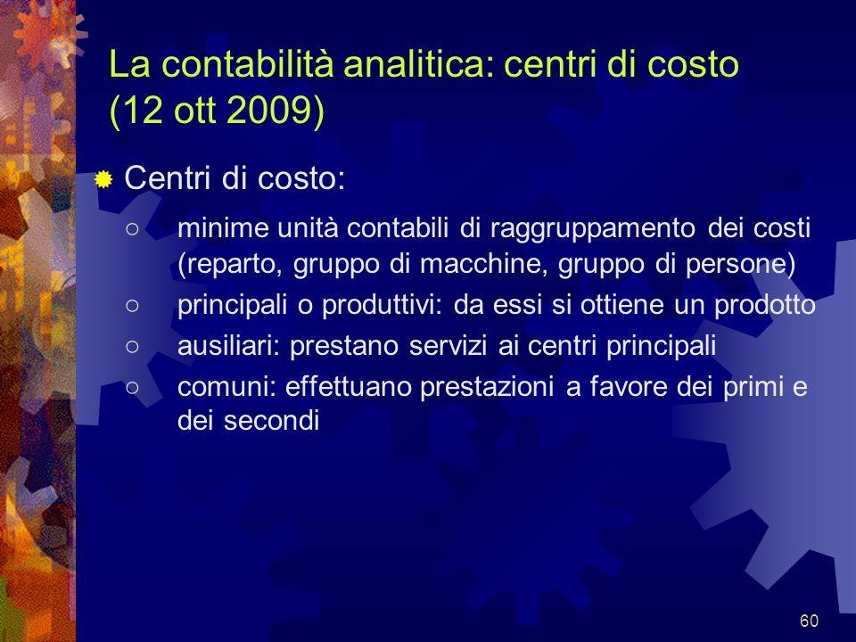 60 La contabilità analitica: centri di costo (12 ott 2009) Centri di costo: minime unità contabili di raggruppamento dei costi (reparto, gruppo di mac