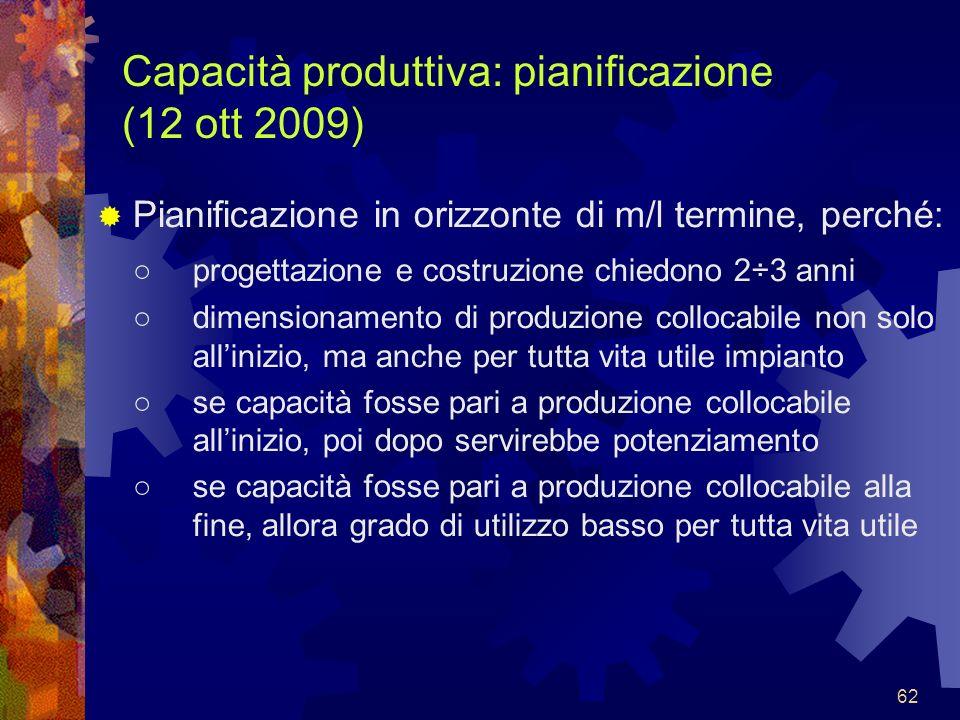 62 Capacità produttiva: pianificazione (12 ott 2009) Pianificazione in orizzonte di m/l termine, perché: progettazione e costruzione chiedono 2÷3 anni