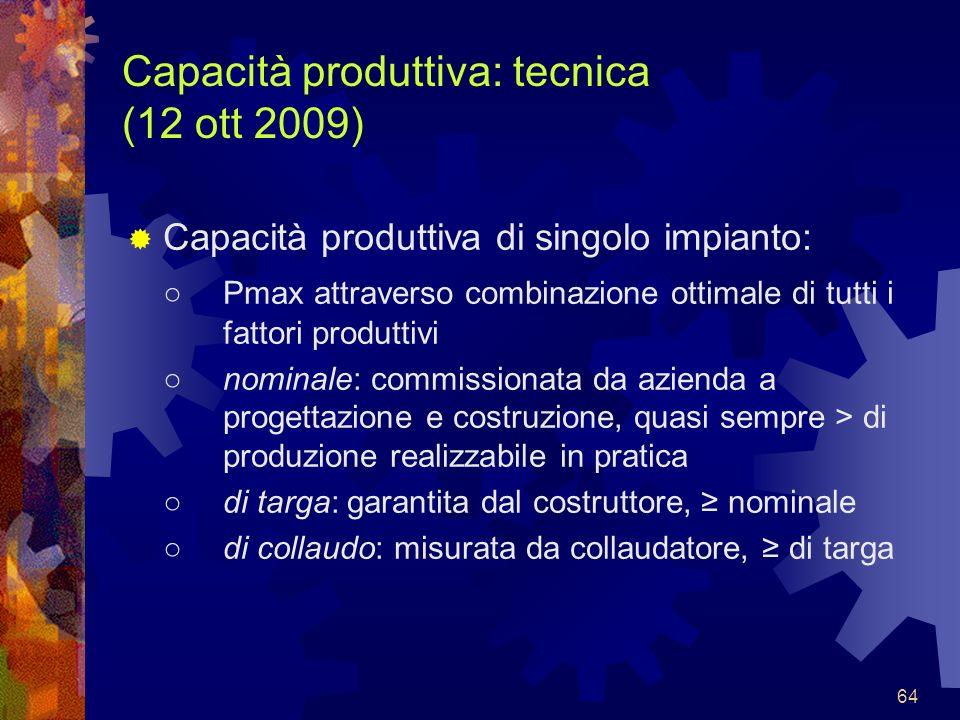 64 Capacità produttiva: tecnica (12 ott 2009) Capacità produttiva di singolo impianto: Pmax attraverso combinazione ottimale di tutti i fattori produt