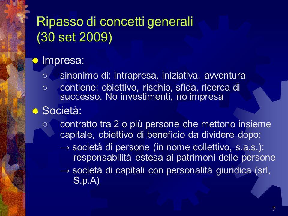 7 Ripasso di concetti generali (30 set 2009) Impresa: sinonimo di: intrapresa, iniziativa, avventura contiene: obiettivo, rischio, sfida, ricerca di s